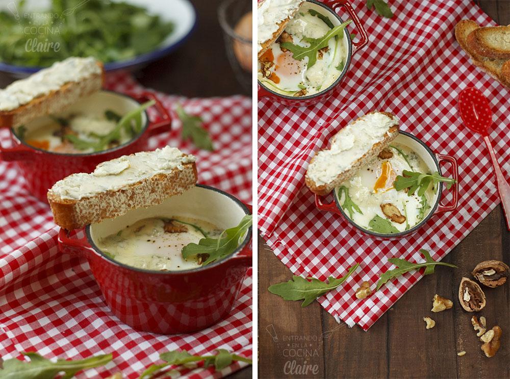 Minicocotte de huevos con rocafort 07